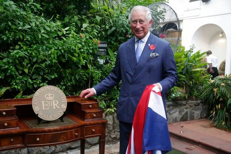 HRH The Prince of Wales unveils the first marker on the Nigeria Commonwealth Walkway