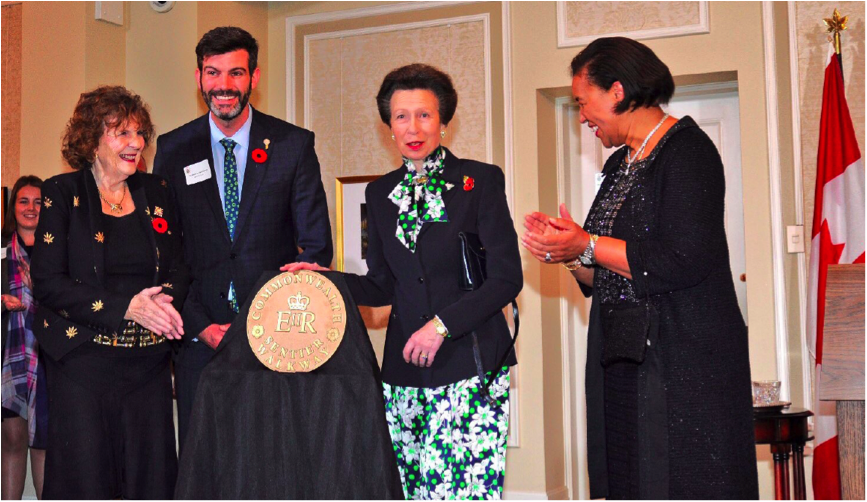 HRH The Princess Royal unveils the first marker of the Edmonton Commonwealth Walkway